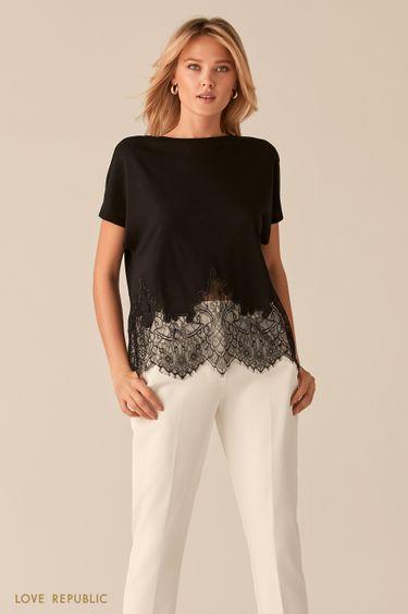 Свободная черная блузка с кружевной вставкой 0256113312
