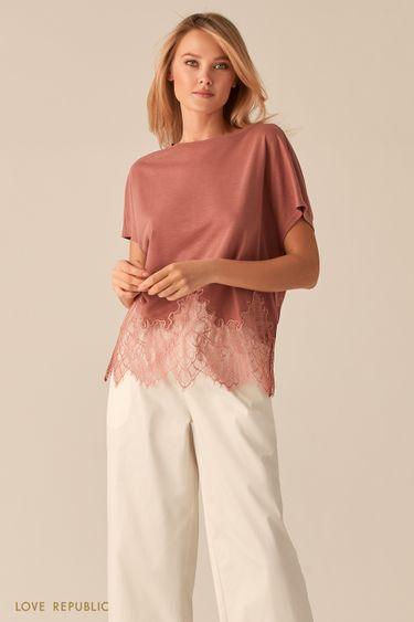 Свободная блузка с кружевной вставкой 0256113312