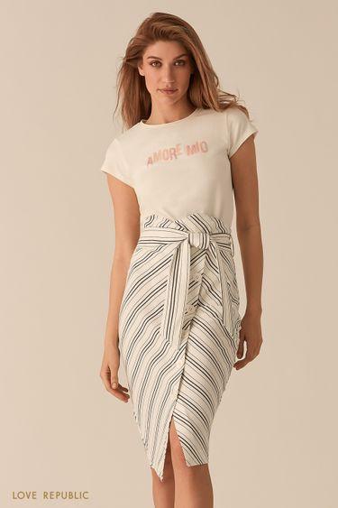 Хлопковая белая футболка с декором из бисера 02561170336