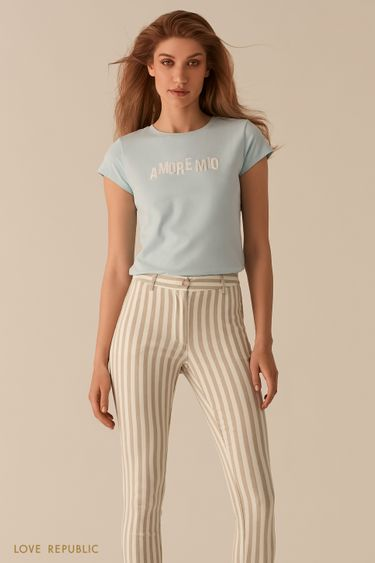 Хлопковая футболка с декором из бисера 02561170336