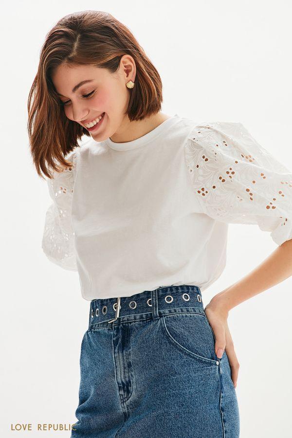Хлопковая блузка с кружевом ришелье 0256105302-1