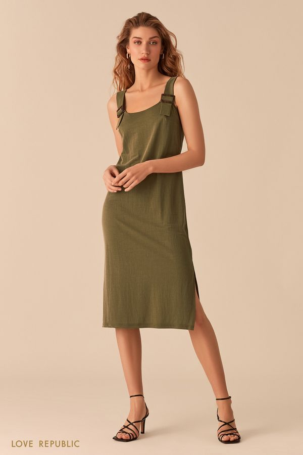 Свободное трикотажное платье цвета хаки 02561090514-13