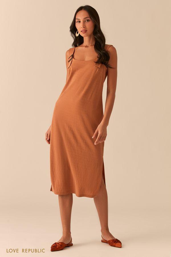 Свободное трикотажное платье с разрезами 0256109514-94