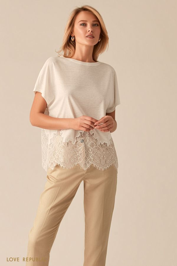 Свободная блузка с кружевной вставкой 0256113312-93