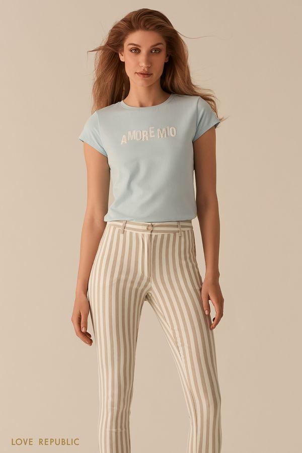Хлопковая белая футболка с декором из бисера 02561170336-1