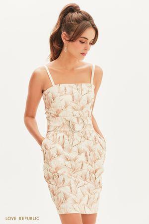 Платье-бандо с цветочным принтом