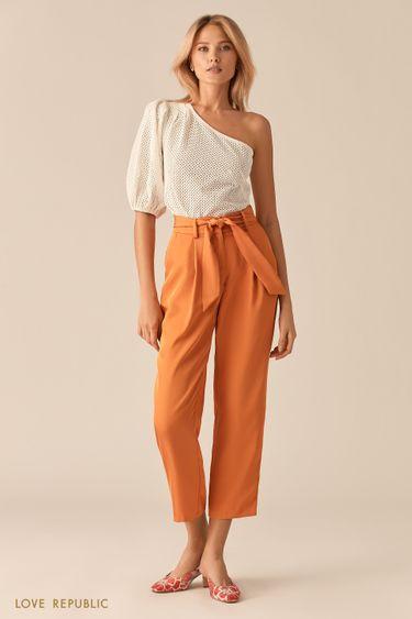 Укороченные оранжевые брюки-бананы с поясом 0256213737