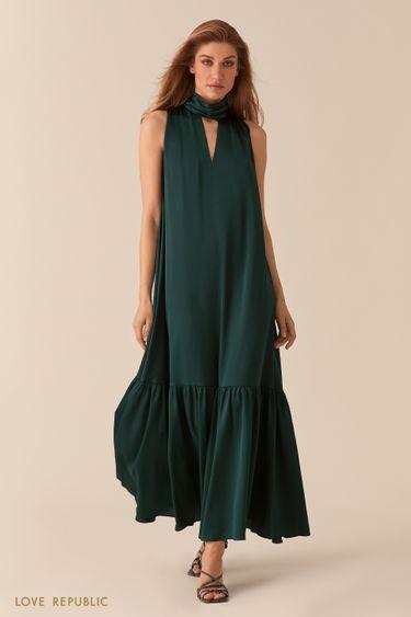 Изумрудное платье макси с американской проймой и декольте 02562150516