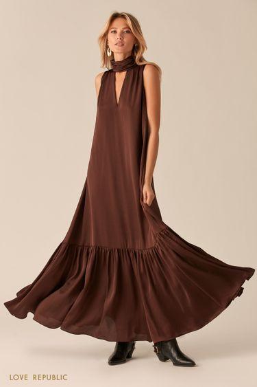 Платье макси с американской проймой и декольте шоколадного цвета 02562150516
