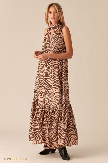 Платье макси с американской проймой и декольте 02562150516
