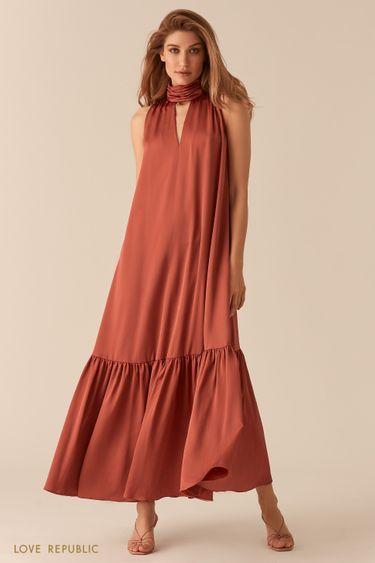Платье макси с американской проймой и декольте терракотового цвета 0256215516