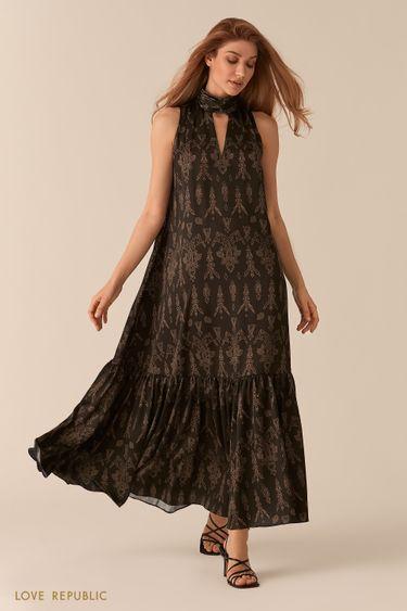 Платье макси с американской проймой и декольте с принтом 0256215516