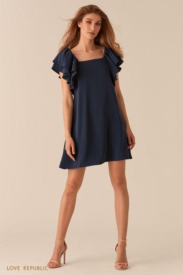 Темно-синее платье А-силуэта с пышными рукавами-воланами 02562200531