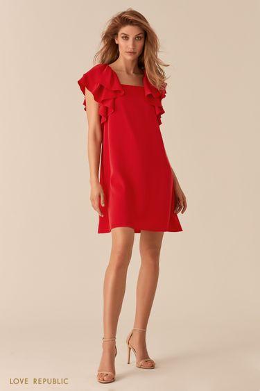 Красное платье А-силуэта с пышными рукавами-воланами 02562200531