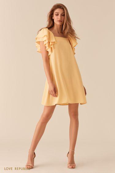 Желтое платье А-силуэта с пышными рукавами-воланами 02562200531