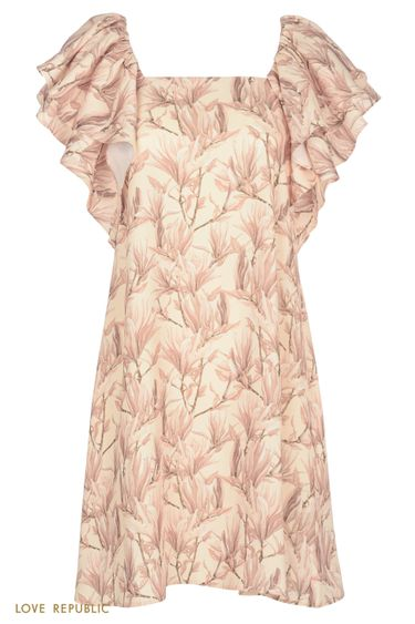 Летящее платье с объемными рукавами 0256220531