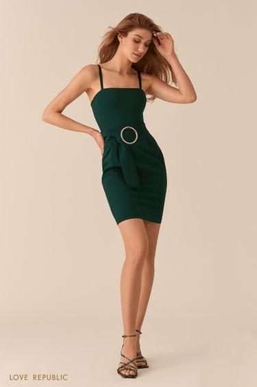 Открытое изумрудное платье-футляр 02562240529