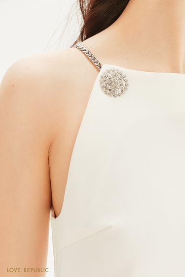 Платье-мини с декором 0256239557