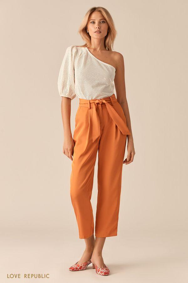 Укороченные оранжевые брюки-бананы с поясом 0256213737-23