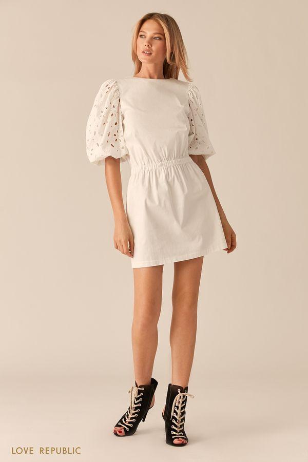 Платье мини с рукавами-буфами с вышивкой ришелье 0256214521-50