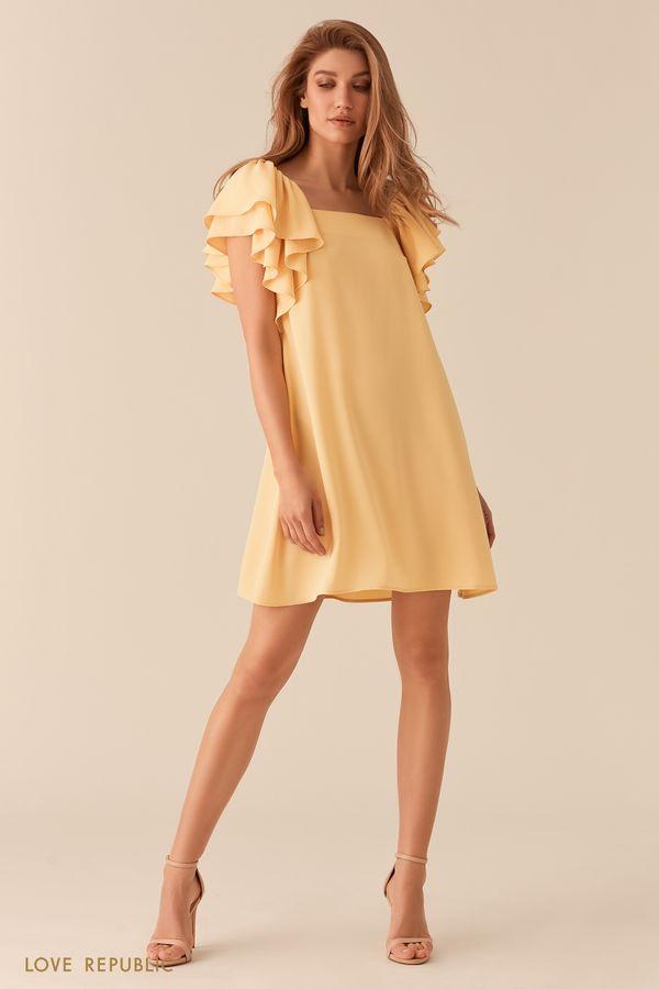 Желтое платье А-силуэта с пышными рукавами-воланами 02562200531-9