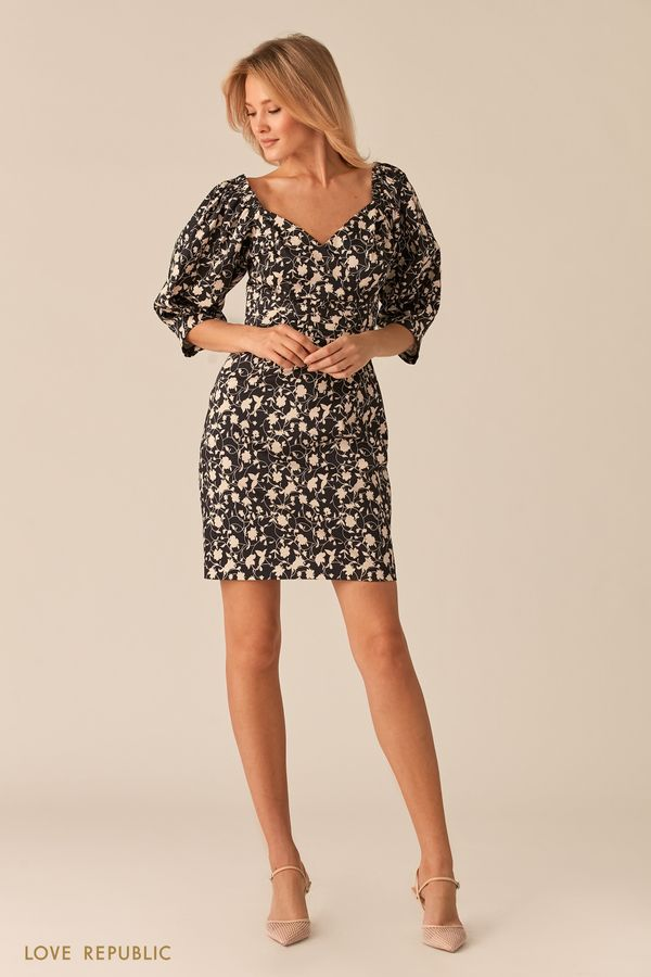 Платье с фигурным лифом на запах и флористичным принтом 0256221532-54
