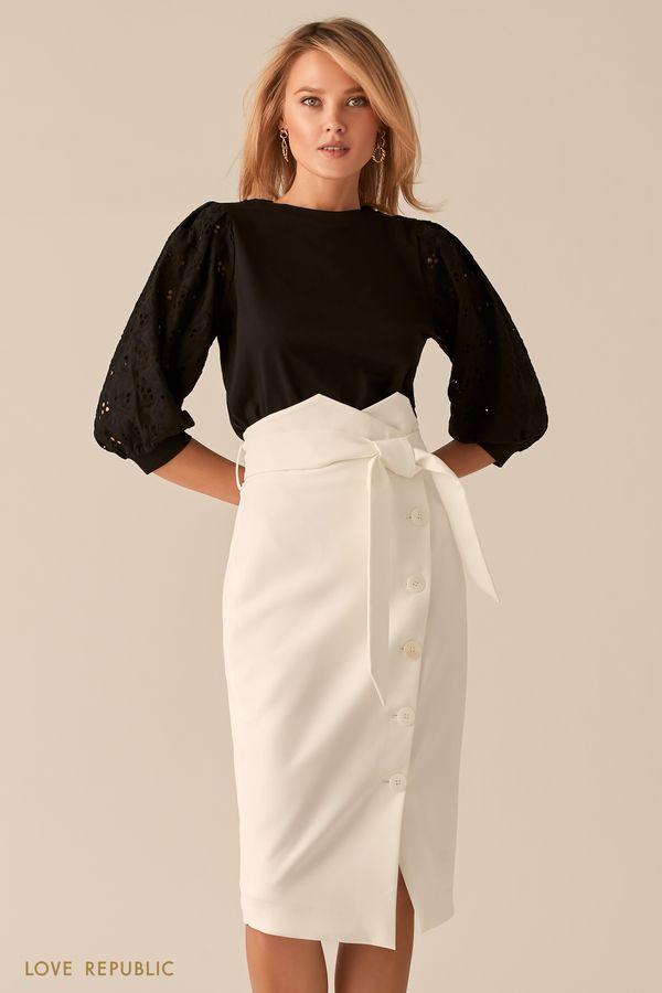 Молочная юбка с фигурной линией пояса 0256232208-60