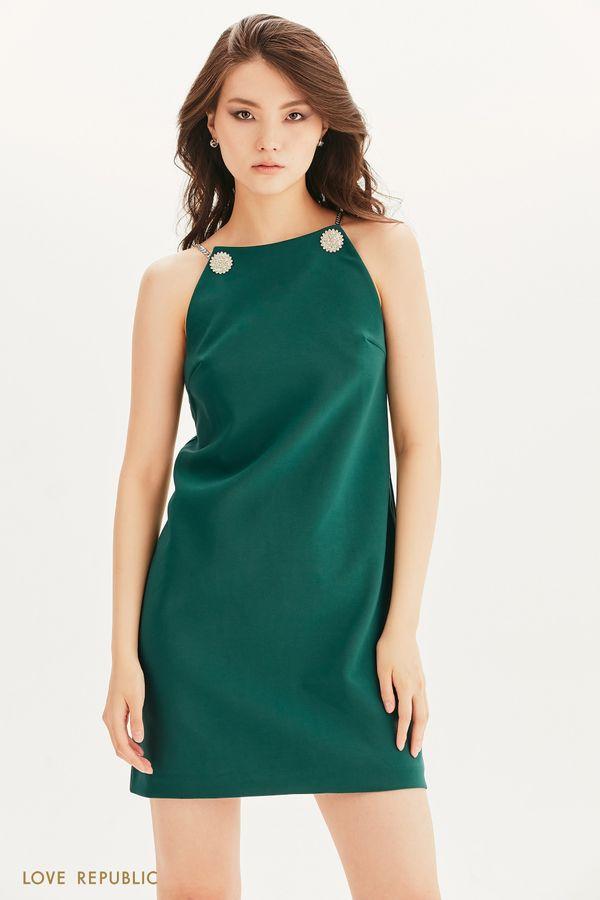 Платье мини с декором 0256239557-9