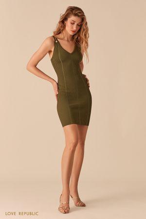 Открытое платье из фактурного трикотажа цвета хаки фото
