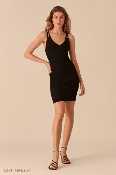 Открытое черное платье из фактурного трикотажа 02563030559