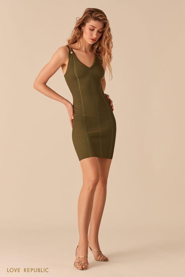 Открытое красное платье из фактурного трикотажа 02563030559-70