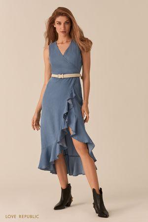 Асимметричное платье миди с воланами по нижнему краю и плетеным поясом фото