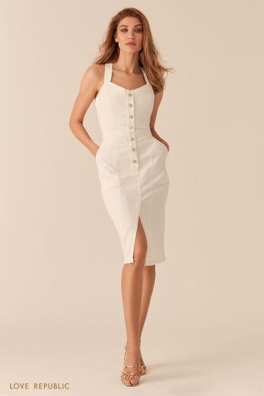 Белое джинсовое платье-футляр с рядом пуговиц 0256422520