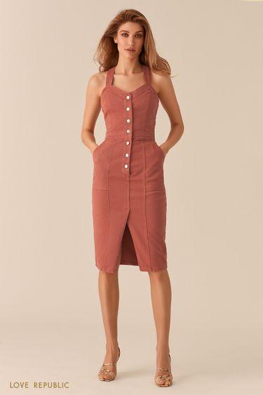 Джинсовое платье-футляр с рядом пуговиц 0256422520