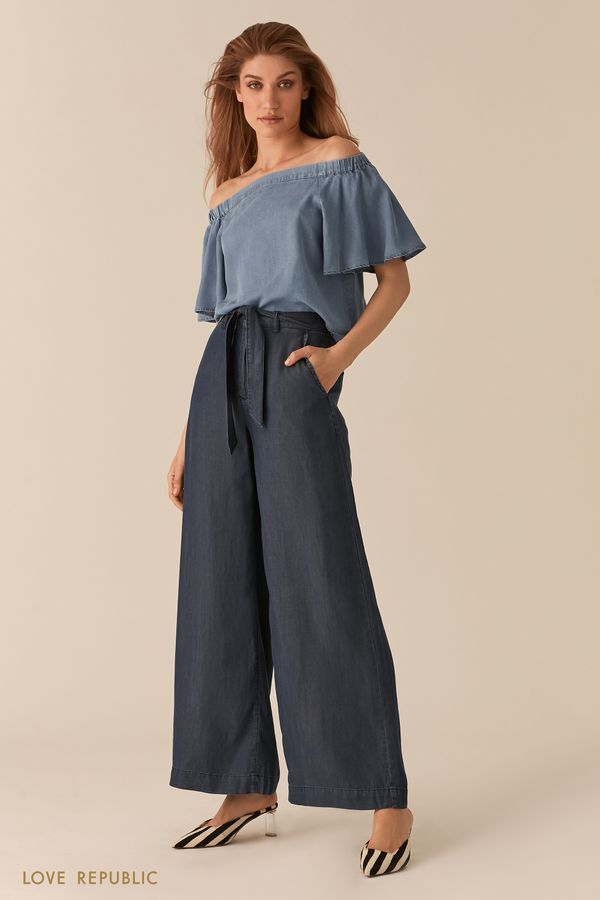 Свободная блузка с открытыми плечами из тенсела 0256410304-102