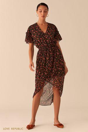 Легкое платье с асимметричным подолом фото
