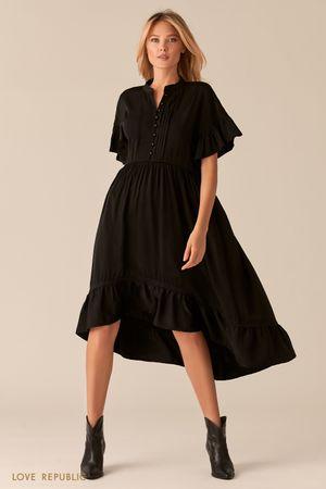 Каскадное платье в стиле бохо черного цвета фото