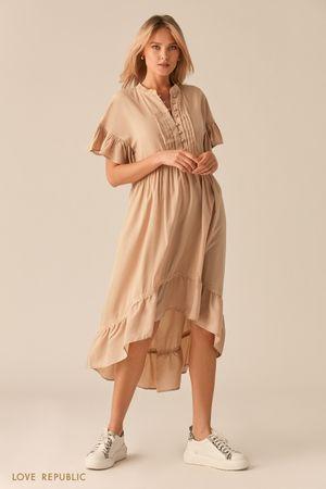 Каскадное платье в стиле бохо бежевого цвета фото