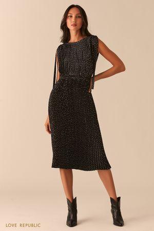 Плиссированное черное платье миди фото