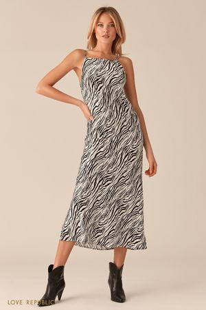 Атласное платье-комбинация с принтом фото