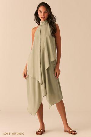 Зеленое асимметричное платье с американской проймой фото