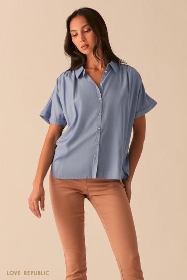 Свободная рубашка со сборками на плечах голубого цвета 0357002312