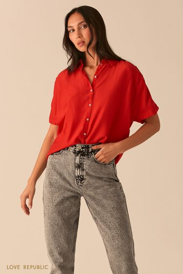 Свободная рубашка со сборками на плечах красного цвета 0357002312