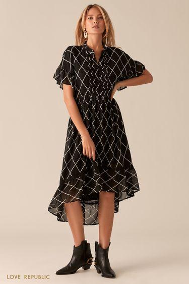 Каскадное платье с притом в стиле бохо 0357009523
