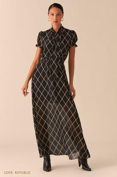 Шифоновое платье макси с галстуком 0357009527