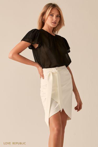 Черная полупрозрачная блузка из фактурной ткани 0357013320