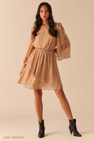 Платье с воздушными рукавами-воланами и плиссировкой 0357014531