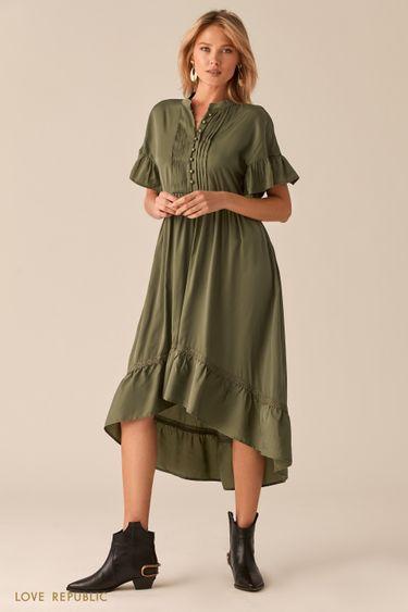 Каскадное платье в стиле бохо цвета хаки 0357018540
