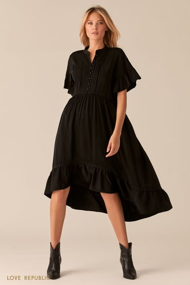 Каскадное платье в стиле бохо черного цвета 0357018540