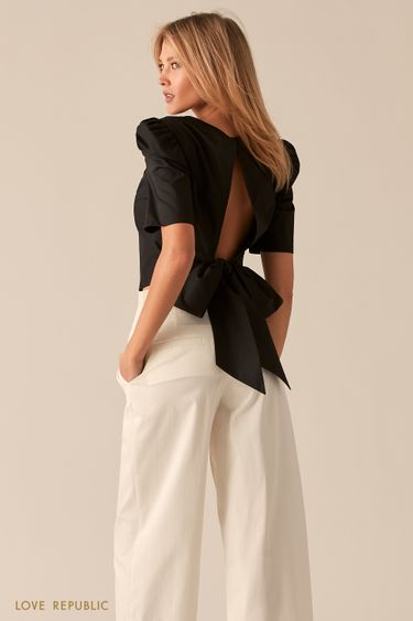 Хлопковая черная блузка с вырезом и бантом на спине 0357019327